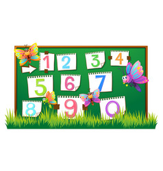numbers one to zero on the board vector image