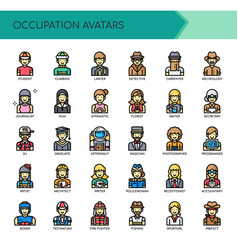 Occupation avatars thin line and pixel perfect vector