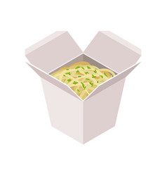 open cardboard box with noodle takeaway food vector image