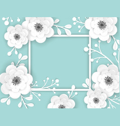 paper cut flowers frame greeting card template vector image