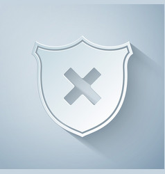 paper cut shield and cross x mark icon isolated on vector image