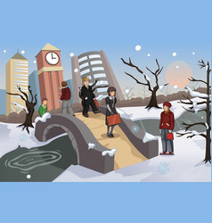 people walking in the park during winter vector image