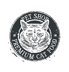 pet shop logo design template food or cat vector image