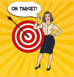 Pop art business woman achieved the target vector