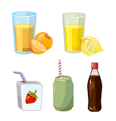 Popular summer drinks cartoon style vector