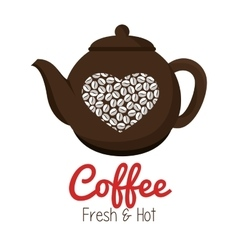 pot coffee heart graphic isolated vector image