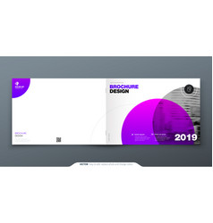 purple brochure design horizontal cover template vector image
