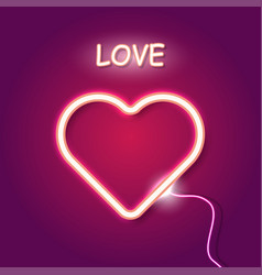 Red neon heart on purple background vector