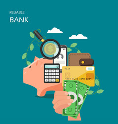 reliable bank flat style design vector image