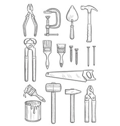 Repair tool sketch for construction and carpentry vector