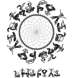 Round pattern with dancing figures vector image