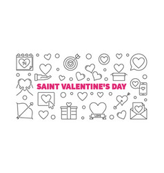 saint valentines day outline horizontal vector image