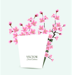 sakura tree card template - floral spring wedding vector image