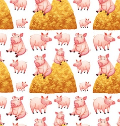 Seamless background with pigs and haystacks vector image