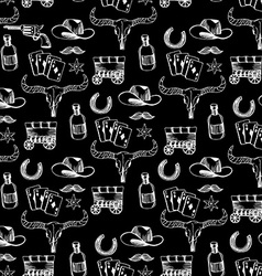Seamless pattern background western cowboy vector