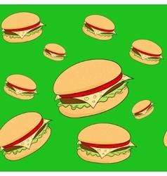 Seamless pattern hamburger vector image