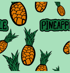seamless pattern with cartoon pineapple vector image