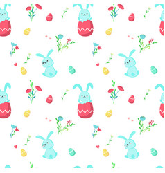 Seamless pattern with cute easter rabbits vector