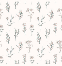 Seamless pattern with tender blooming flowers vector