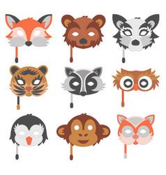 Set cartoon animals party masks holiday vector