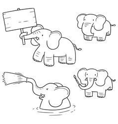 set of elephant vector image