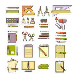 set of flat design cute colorful stationery vector image