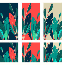 set of indoor plants tag vector image