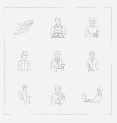 set of profession icons line style symbols with vector image