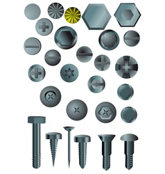 Set of screws and nails vector