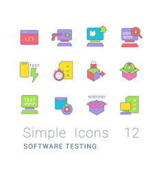 set simple line icons software testing vector image