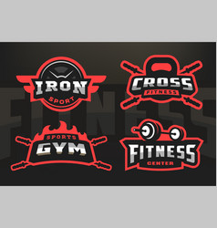 set sport logo emblem on a dark background vector image