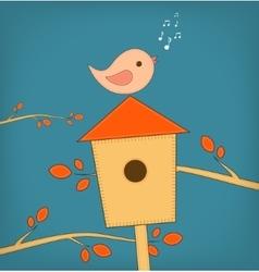 Simple card of funny cartoon bird on vector image