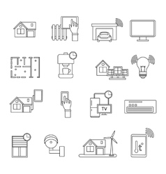 Smart House Line Icon Set vector image