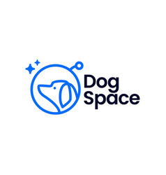 Space dog astronaut monoline logo icon vector