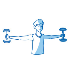 Sport man barbell fitness gym athlete vector
