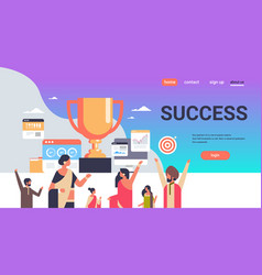 successful indian people group holding winner cup vector image