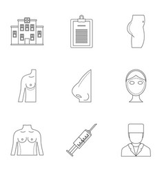 Surgery correction icon set outline style vector