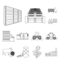 Textile industry outline icons in set collection vector