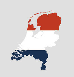 the netherlands map with the official flag vector image