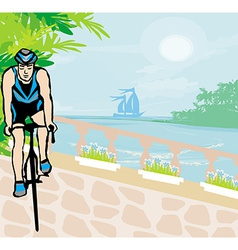 Training cyclists in the tropical vacation vector