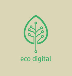 tree leaf icon in digital style vector image