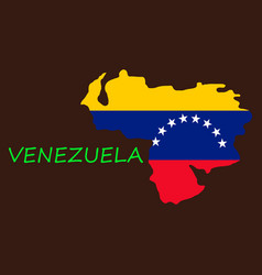 Venezuela map national flag icon vector