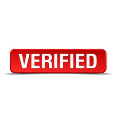 Verified red 3d square button isolated on white vector image