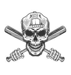 vintage bandit skull in hipster cap vector image
