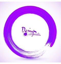 Violet paintbrush circle frame vector image vector image