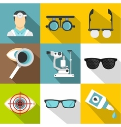 Vision icons set flat style vector