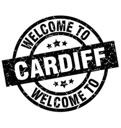 Welcome to cardiff black stamp vector