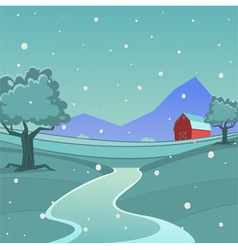 Winter Farm Landscape vector