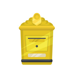 Yellow metal mailbox for letters and newspapers vector