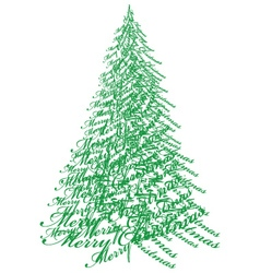 Christmas tree with text vector image vector image